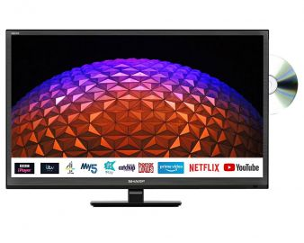 """Sharp 1T-C24BE0KR1FB 24"""" HD Ready Smart Television with Built In DVD Player"""