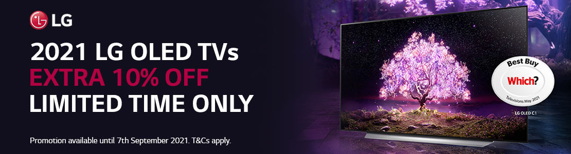Save 10% off selected LG OLED TVs